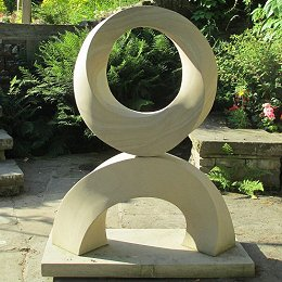 geometric stone M�bius sculpture with stand