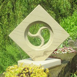 geometric stone tri window sculpture