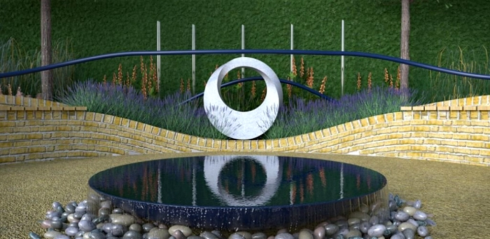 Geometric stone sculpture for RHS Hampton Court Flower Show